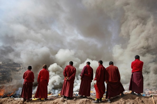 """""""Separation of the body and soul"""" the Tibetan Sky Burial has been practiced for thousands of years in tibet."""