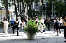 People practicing Taichi in Bryant Park, New York